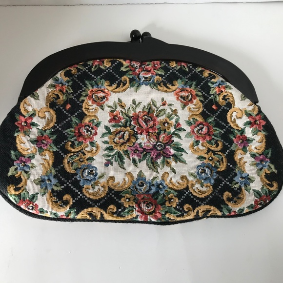 Danielle of Canada Handbags - Japan Tapestry & Bakelite Frame Clutch Handbag